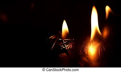 Ancient pentagram burning slow motion from 120fps