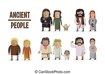 Ancient People in national dress. Family dressed in traditional costume. Set of different characters.