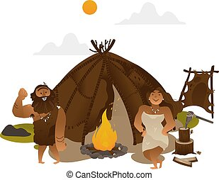 Ancient people standing near torch with fireplace in stone age.