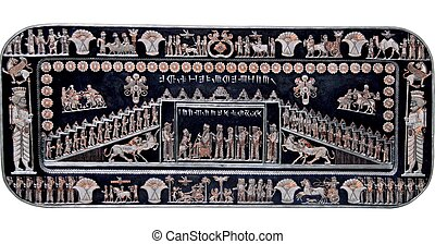 ancient persepolis - silver and copper plate of ancient...