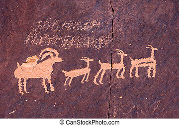 Ancient petroglyphs - Newspaper rock in Canyonlands national...
