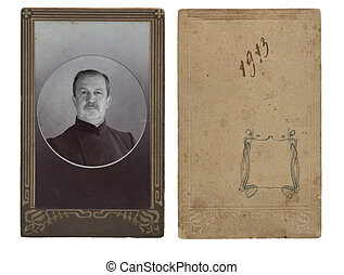 Ancient photo of the elderly man, in a decorative frame