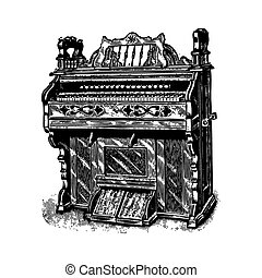 Ancient piano - Ancient engraving of a piano or harpsichord