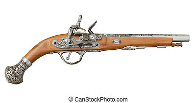 Ancient piracy pistol on white background