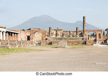 Ancient Pompeii with Vesuvius in Background