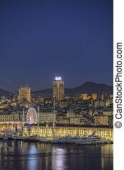 ancient port of Genoa with Ferris wheel