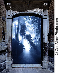 Ancient portal in foggy forest