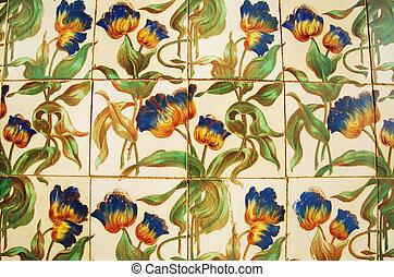 (ancient, portugal, palais, vendange, -, azulejos, algarve, vieux, tiles)