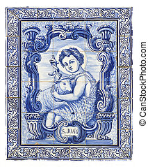 ancient portuguese tiles with saint john