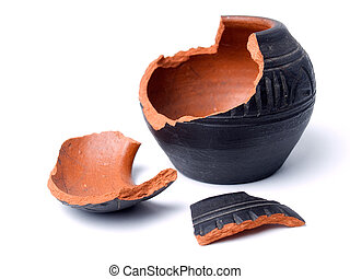 Broken antique clay pot on a white background
