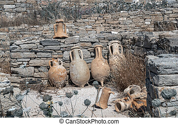 Ancient pottery wine amphora found in the ruins on the island of