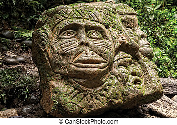 Ancient Pre Columbian Statue, Tropical Rainforest, South...