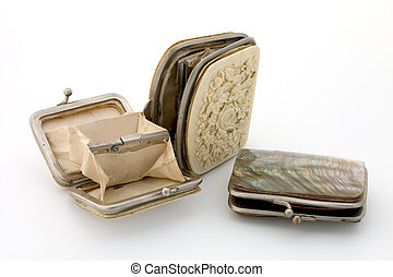 Ancient purses - Three ancient purses, made of mother-of-...
