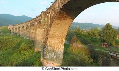 Ancient railroad bridge over the river.