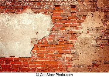 Ancient red brick wall.