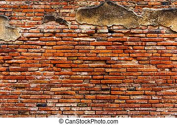 Ancient red brick wall