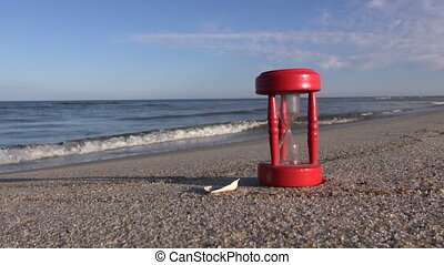 sandglass clock on sea beach sand
