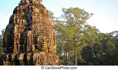 Ancient Religious Monument at Bayon Temple, Cambodia - Video...