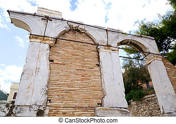 Ancient remains of the Roman Agora, marketplace built in...