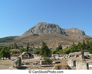 view of the mountain above ancient korinth in greece