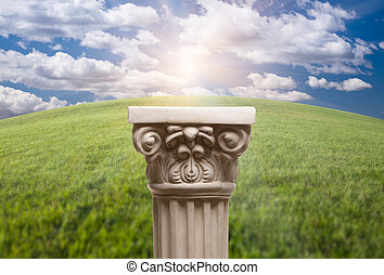 Ancient Replica Column Pillar Over Grass and Clouds -...