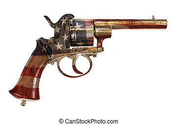 Ancient revolver with the American flag isolated on white