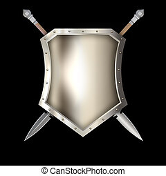 Ancient riveted shield and two spears.