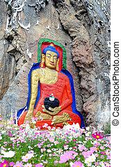 Ancient rock art of buddha painting