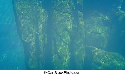 Ancient Rock Structure Under Water - Old rock structure...