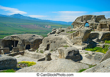 Ancient rock town, Georgia - Famous Uplistsikhe caves is an...