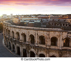 Ancient Roman amphitheatre arena in Nimes, France