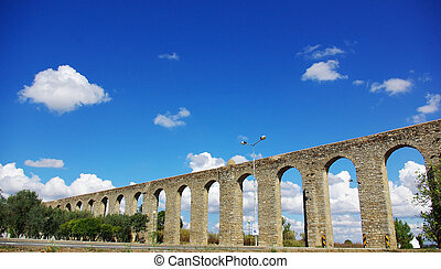 Ancient Roman aqueduct in Evora. - Ancient Roman aqueduct in...