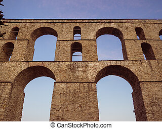 Ancient Roman aqueduct in Kavala city - Greece