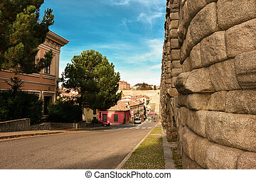 Ancient Roman Aqueduct in Segovia Spain