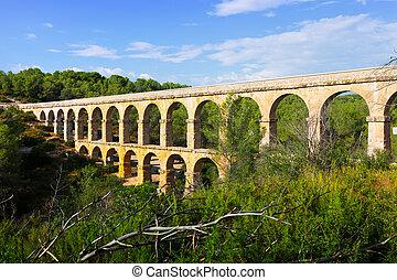 ancient roman aqueduct in summer forest. Tarragona,