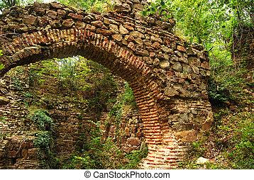 Ancient roman Balkan fortress arch