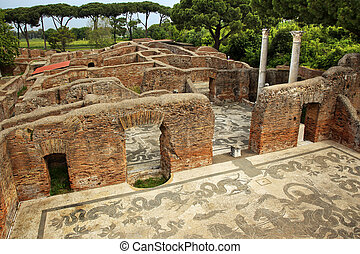 Ancient Roman Baths of Neptune Mosaic Floors Ostia Antica Ruins Rome Italy Excavation of Ostia, ancient Roman port, next to airport. Was port for Rome until 5th Century AD.