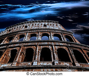 Ancient Roman Colosseum at night in the moonlight