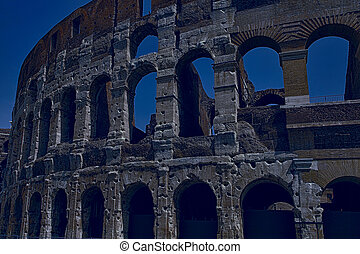 Ancient roman colosseum in Rome, Italy.