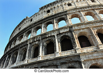Ancient roman colosseum in Rome, Italy