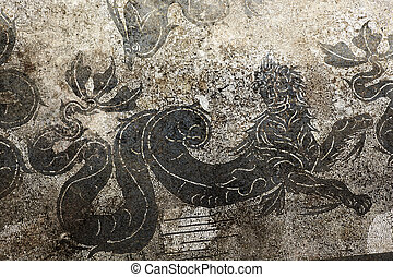 Ancient Roman Dragon Mosaic Floor Baths of Neptune Ostia Antica Ruins Rome Italy Excavation of Ostia, ancient Roman port, next to airport. Was port for Rome until 5th Century AD.