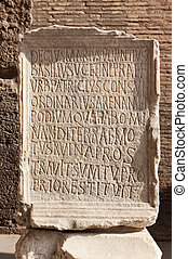 Ancient roman epigraph. Inscription located in Colosseum...