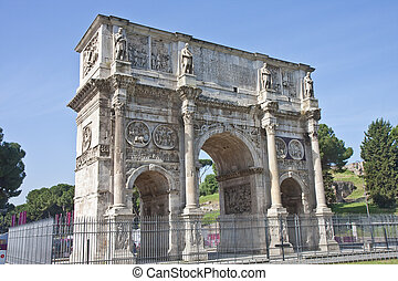 Ancient Roman Gate - An ancient gate outside the Coliseum in...