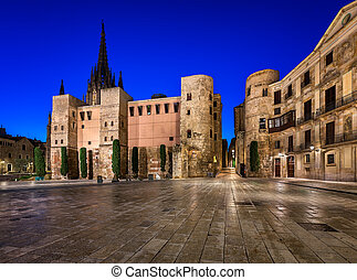Ancient Roman Gate and Placa Nova in the Morning, Barcelona...