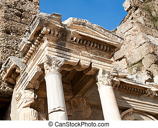 Ancient roman gate - Details of ancient roman gate in Side, ...