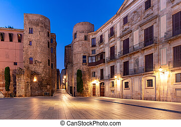 Ancient Roman Gate in morning, Barcelona, Spain - Ancient ...