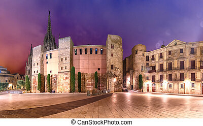 Ancient Roman Gate in morning, Barcelona, Spain - Panorama ...