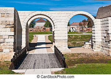 Ancient roman gate with arc at the Alba Iulia fortres, ...