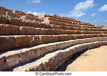 Caesarea, Israel - Ancient Roman hippodrome in Caesarea,...
