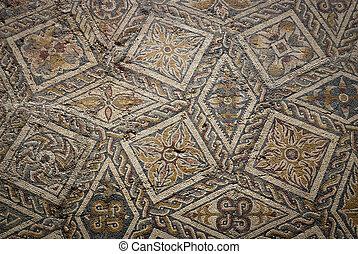 Ancient roman mosaic floor in Merida, Spain